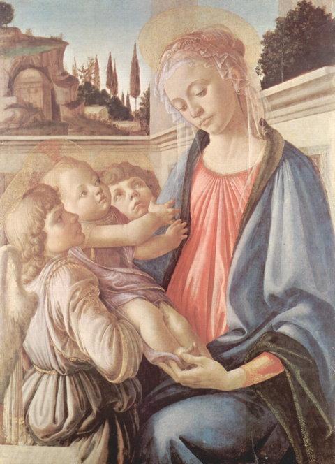 Botticelli - Une Madone, deux anges et son enfant